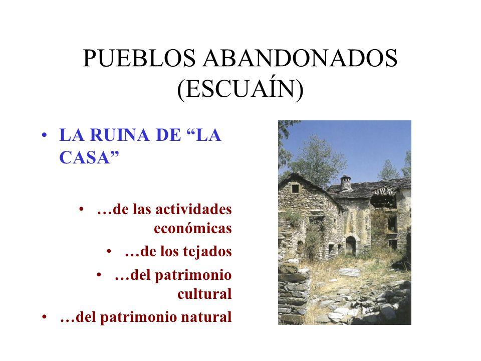 PUEBLOS ABANDONADOS (ESCUAÍN) LA RUINA DE LA CASA …de las actividades económicas …de los tejados …del patrimonio cultural …del patrimonio natural