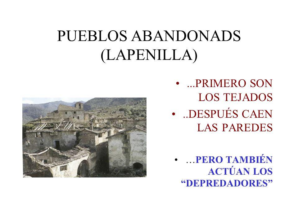 PUEBLOS ABANDONADS (LAPENILLA)...PRIMERO SON LOS TEJADOS..DESPUÉS CAEN LAS PAREDES …PERO TAMBIÉN ACTÚAN LOS DEPREDADORES