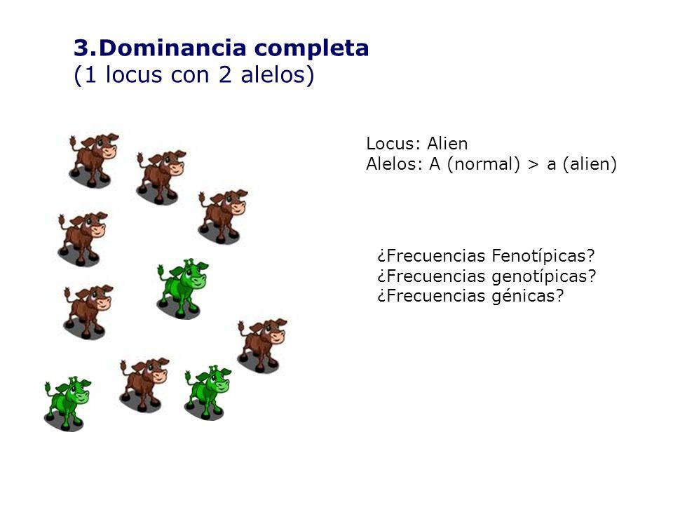 3.Dominancia completa (1 locus con 2 alelos) Locus: Alien Alelos: A (normal) > a (alien) ¿Frecuencias Fenotípicas.