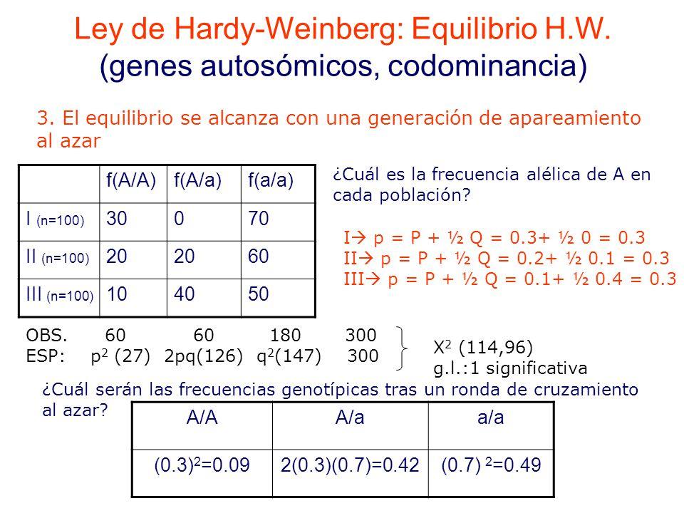 f(A/A)f(A/a)f(a/a) I (n=100) 30070 II (n=100) 20 60 III (n=100) 104050 ¿Cuál es la frecuencia alélica de A en cada población.