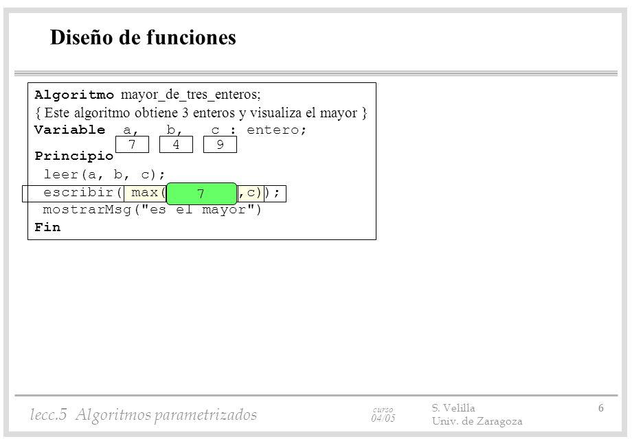 curso 04/05 lecc.5 Algoritmos parametrizados S. Velilla 6 Univ.