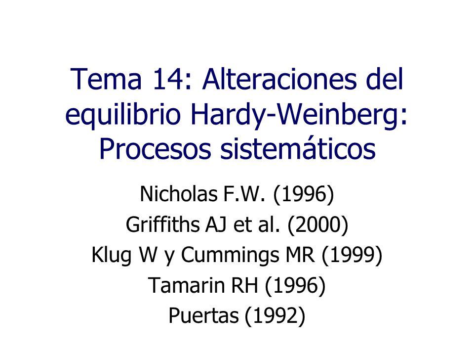 Tema 14: Alteraciones del equilibrio Hardy-Weinberg: Procesos sistemáticos Nicholas F.W.