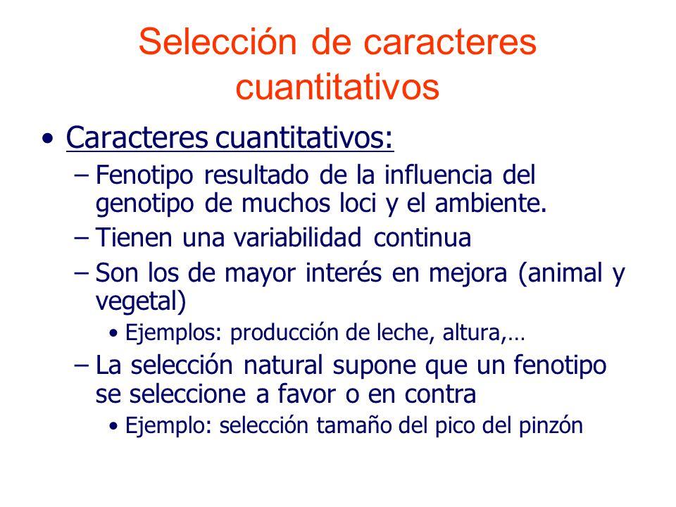 Caracteres cuantitativos: –Fenotipo resultado de la influencia del genotipo de muchos loci y el ambiente.