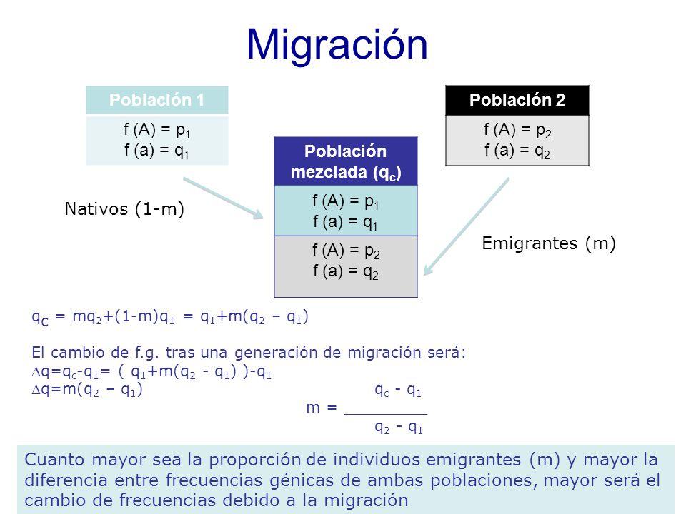 q c = mq 2 +(1-m)q 1 = q 1 +m(q 2 – q 1 ) El cambio de f.g.