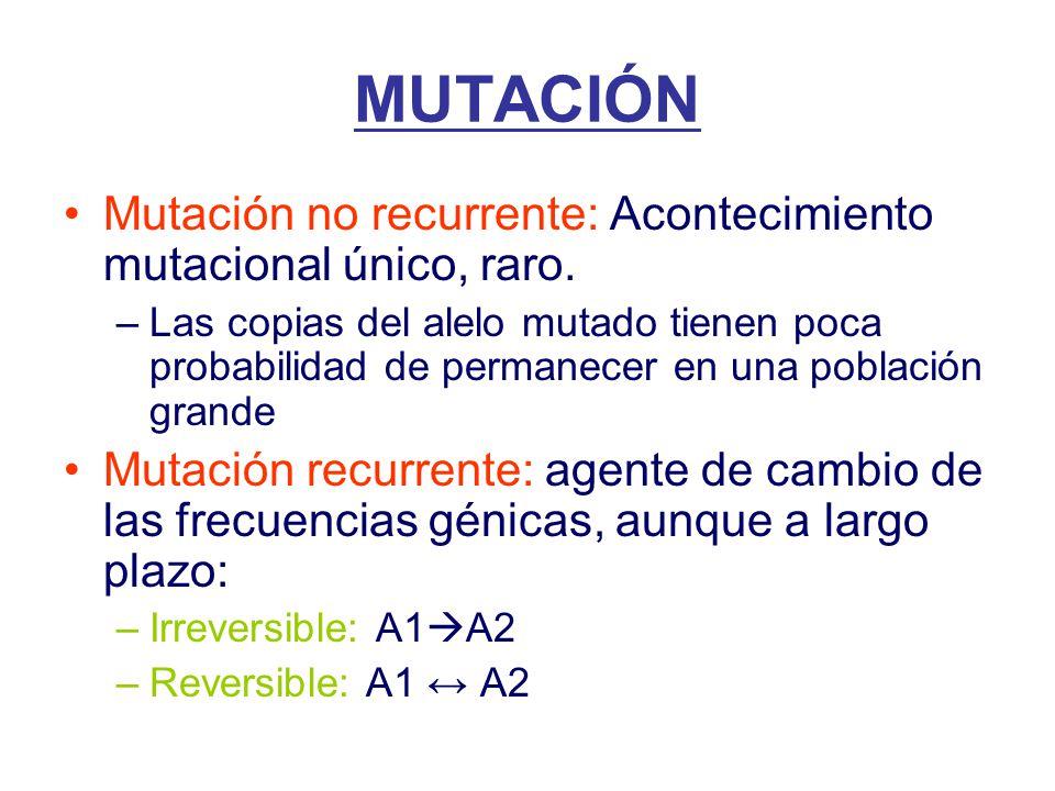 Mutación no recurrente: Acontecimiento mutacional único, raro.
