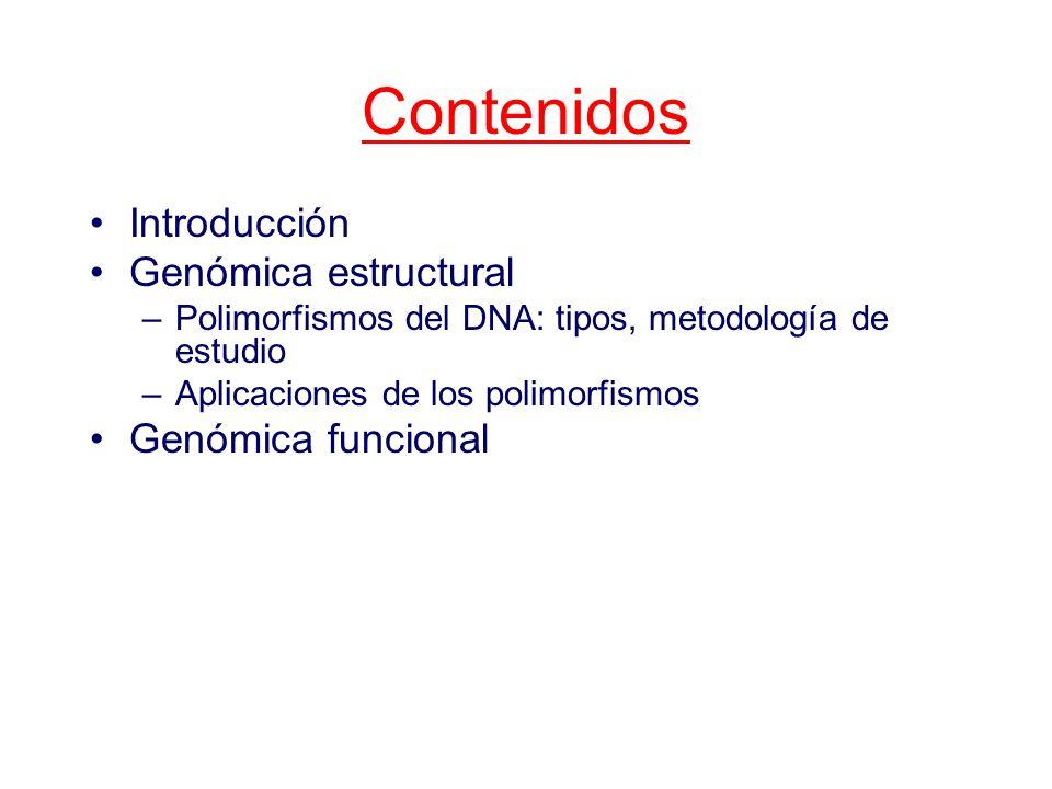 Contenidos Introducción Genómica estructural –Polimorfismos del DNA: tipos, metodología de estudio –Aplicaciones de los polimorfismos Genómica funcional