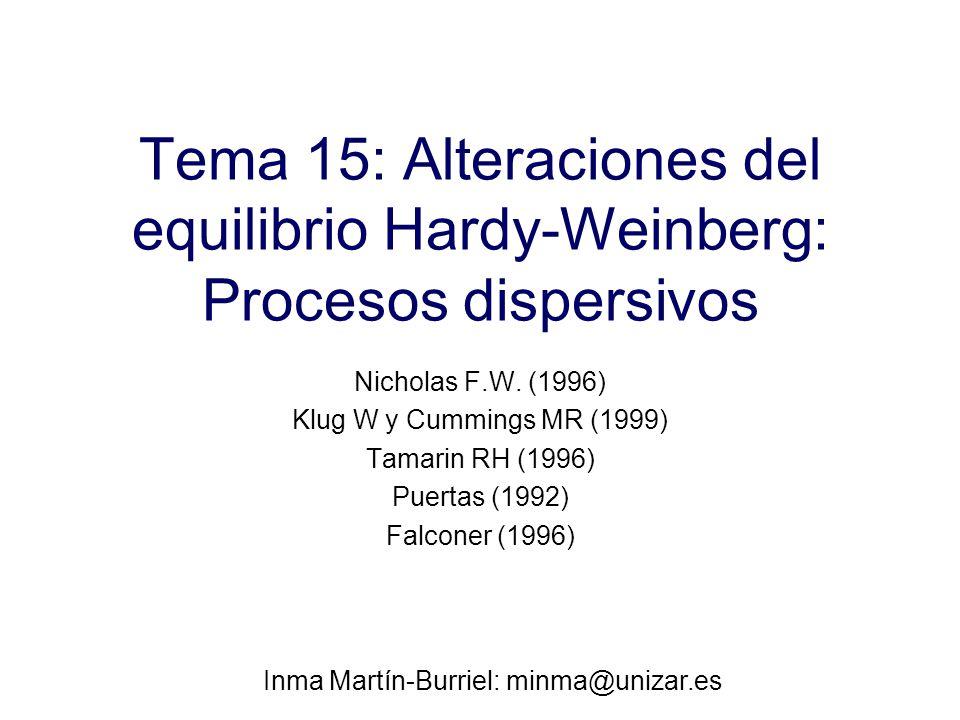 Tema 15: Alteraciones del equilibrio Hardy-Weinberg: Procesos dispersivos Nicholas F.W.
