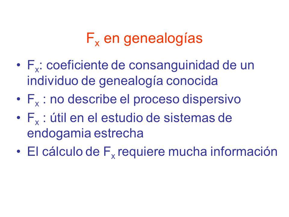 F x en genealogías F x : coeficiente de consanguinidad de un individuo de genealogía conocida F x : no describe el proceso dispersivo F x : útil en el estudio de sistemas de endogamia estrecha El cálculo de F x requiere mucha información