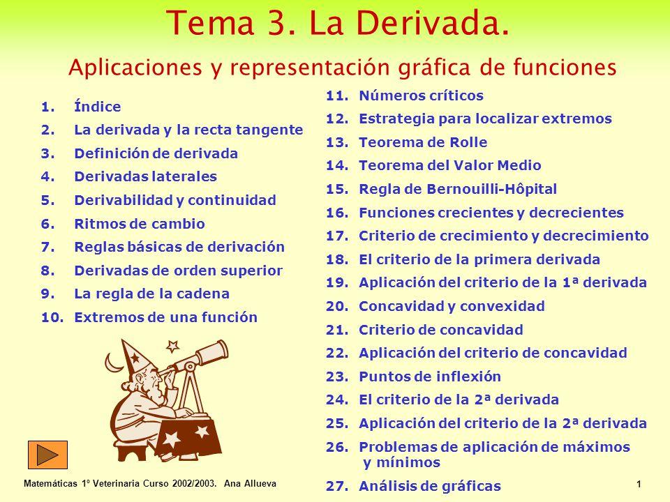 La Derivada y el problema de la recta tangente Matemáticas 1º Veterinaria Curso 2002/2003.