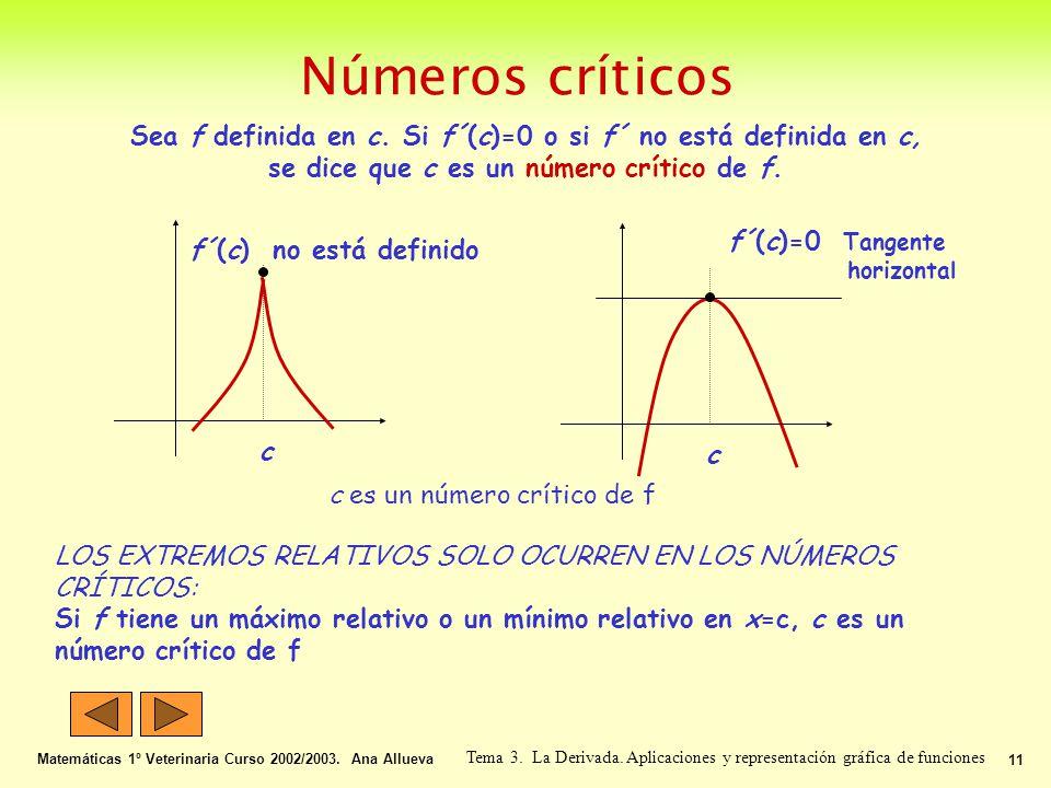 Números críticos Matemáticas 1º Veterinaria Curso 2002/2003. Ana Allueva 11 Tema 3. La Derivada. Aplicaciones y representación gráfica de funciones Se