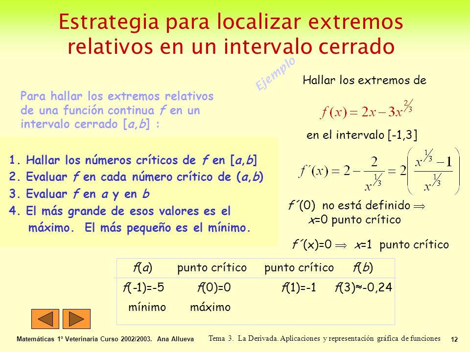 Estrategia para localizar extremos relativos en un intervalo cerrado Matemáticas 1º Veterinaria Curso 2002/2003. Ana Allueva 12 Tema 3. La Derivada. A