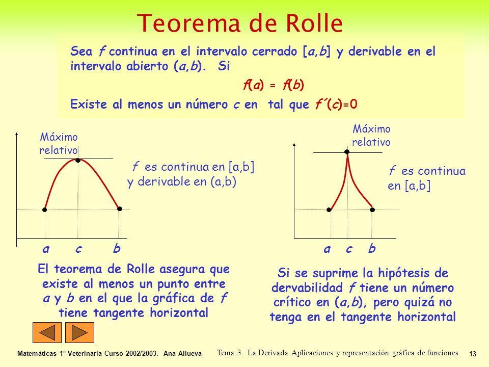 Teorema de Rolle Matemáticas 1º Veterinaria Curso 2002/2003. Ana Allueva 13 Tema 3. La Derivada. Aplicaciones y representación gráfica de funciones Se