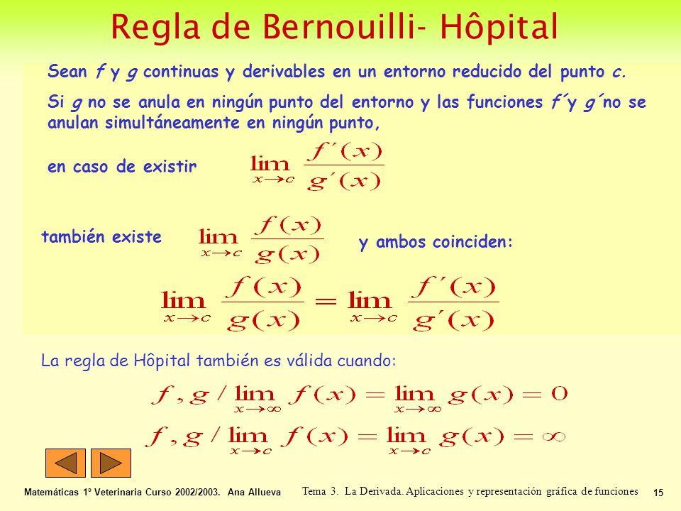 Regla de Bernouilli- Hôpital Matemáticas 1º Veterinaria Curso 2002/2003. Ana Allueva 15 Tema 3. La Derivada. Aplicaciones y representación gráfica de