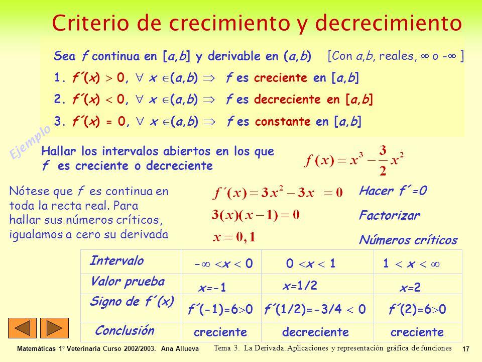 Criterio de crecimiento y decrecimiento Matemáticas 1º Veterinaria Curso 2002/2003. Ana Allueva 17 Tema 3. La Derivada. Aplicaciones y representación