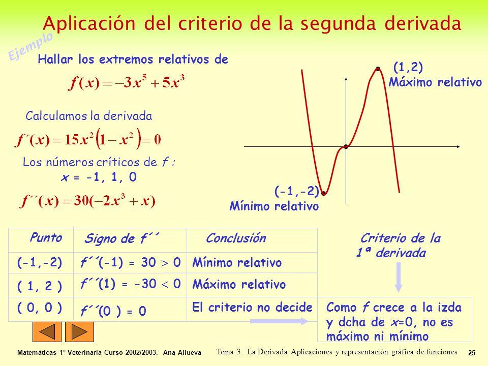 Aplicación del criterio de la segunda derivada Matemáticas 1º Veterinaria Curso 2002/2003. Ana Allueva 25 Tema 3. La Derivada. Aplicaciones y represen
