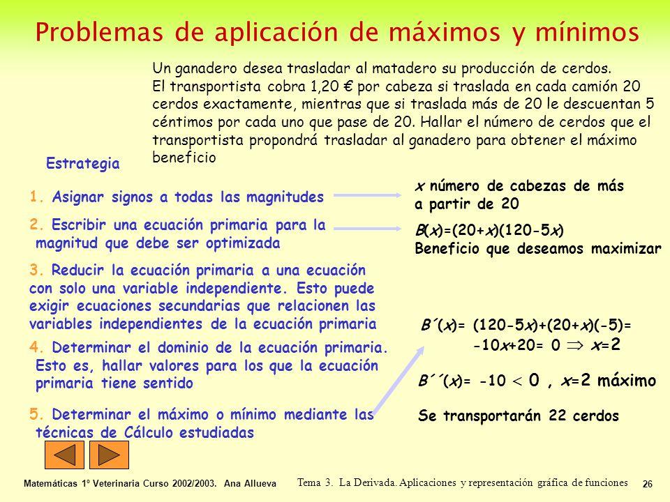 Problemas de aplicación de máximos y mínimos Matemáticas 1º Veterinaria Curso 2002/2003. Ana Allueva 26 Tema 3. La Derivada. Aplicaciones y representa