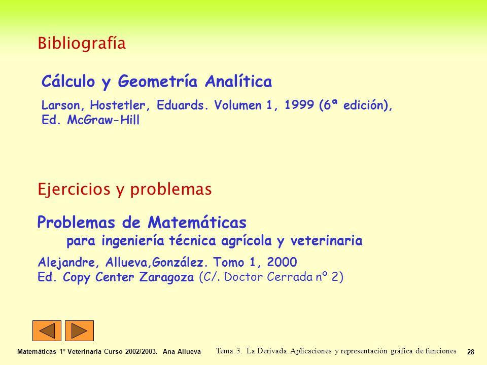 Bibliografía Matemáticas 1º Veterinaria Curso 2002/2003. Ana Allueva 28 Tema 3. La Derivada. Aplicaciones y representación gráfica de funciones Cálcul