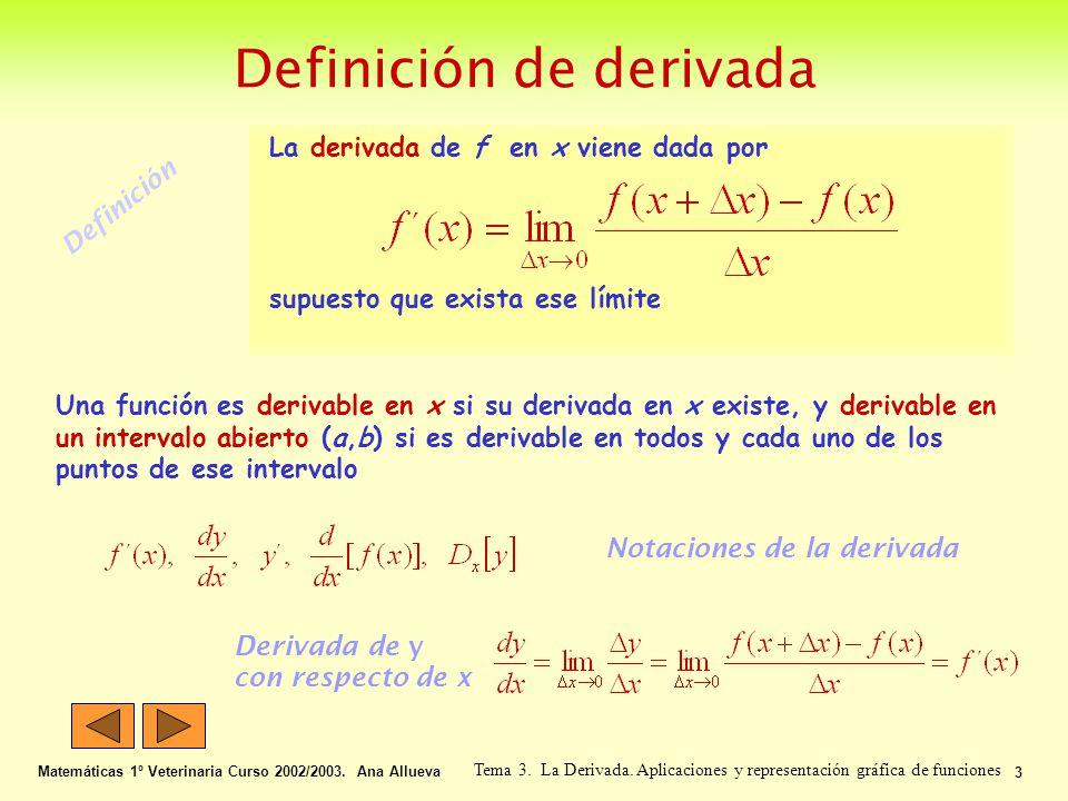 Definición de derivada Matemáticas 1º Veterinaria Curso 2002/2003. Ana Allueva 3 Tema 3. La Derivada. Aplicaciones y representación gráfica de funcion