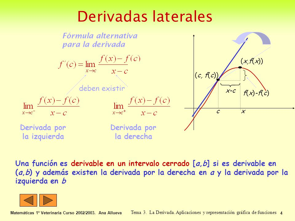 Derivadas laterales Matemáticas 1º Veterinaria Curso 2002/2003. Ana Allueva 4 Tema 3. La Derivada. Aplicaciones y representación gráfica de funciones