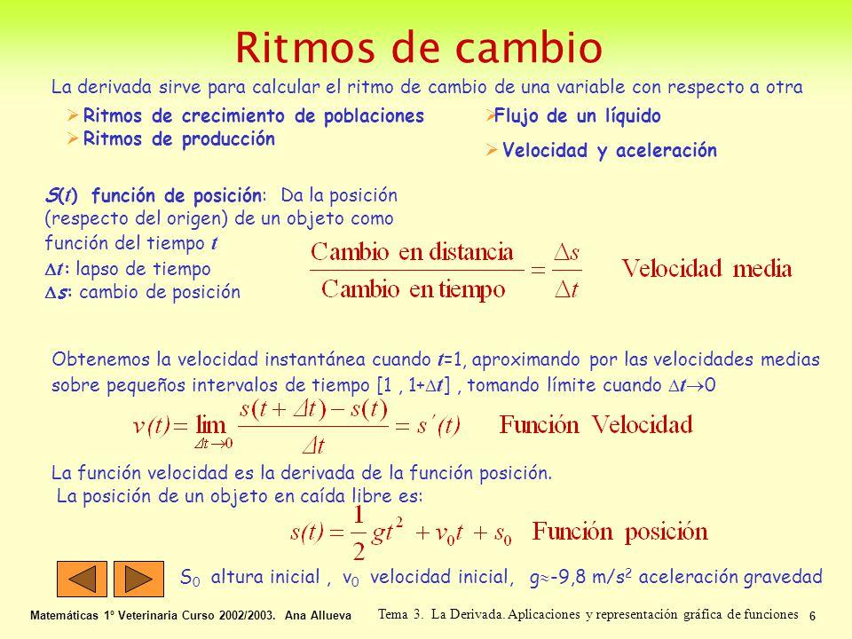 Ritmos de cambio Matemáticas 1º Veterinaria Curso 2002/2003. Ana Allueva 6 Tema 3. La Derivada. Aplicaciones y representación gráfica de funciones La