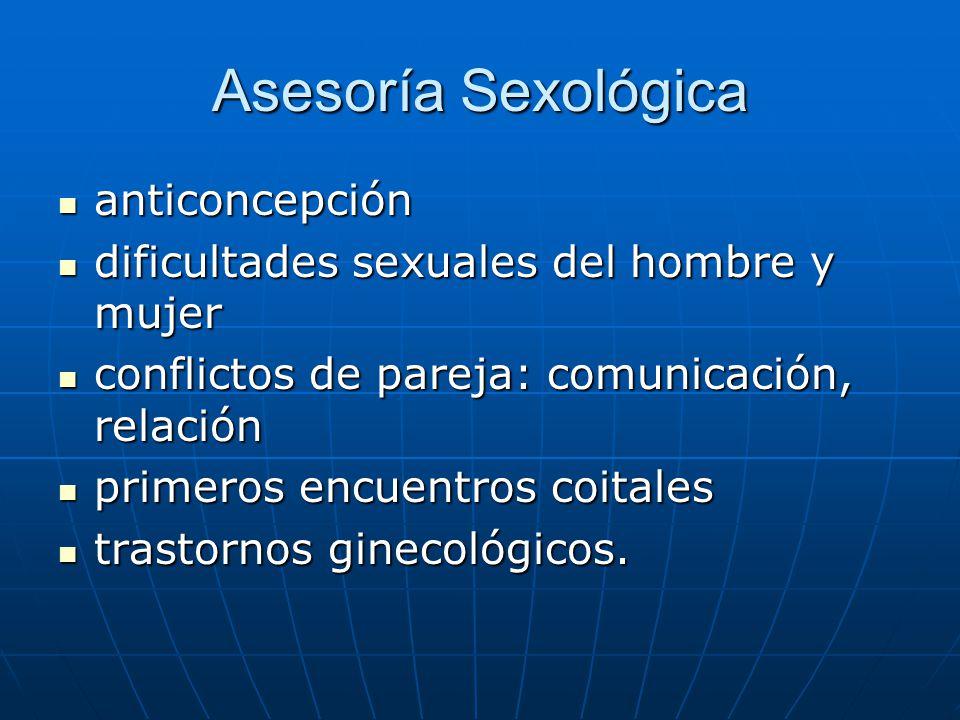 Asesoría Sexológica anticoncepción anticoncepción dificultades sexuales del hombre y mujer dificultades sexuales del hombre y mujer conflictos de pare