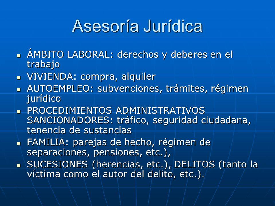 Asesoría Jurídica ÁMBITO LABORAL: derechos y deberes en el trabajo ÁMBITO LABORAL: derechos y deberes en el trabajo VIVIENDA: compra, alquiler VIVIEND