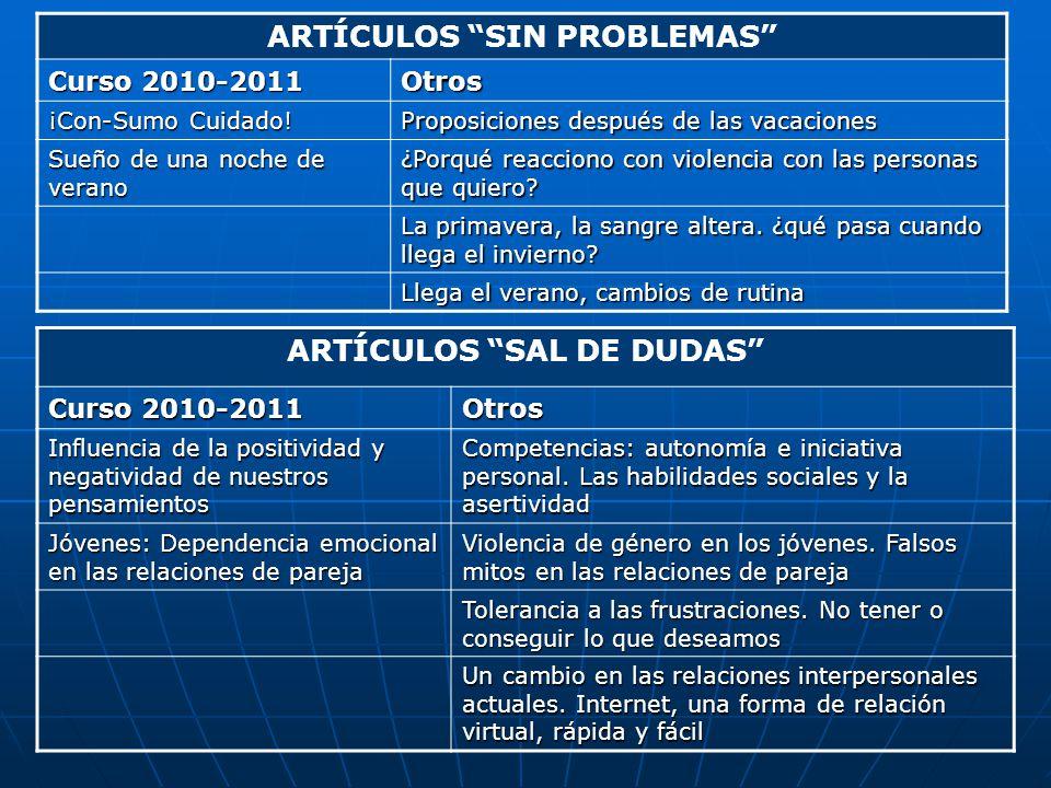 ARTÍCULOS SIN PROBLEMAS Curso 2010-2011 Otros ¡Con-Sumo Cuidado! Proposiciones después de las vacaciones Sueño de una noche de verano ¿Porqué reaccion