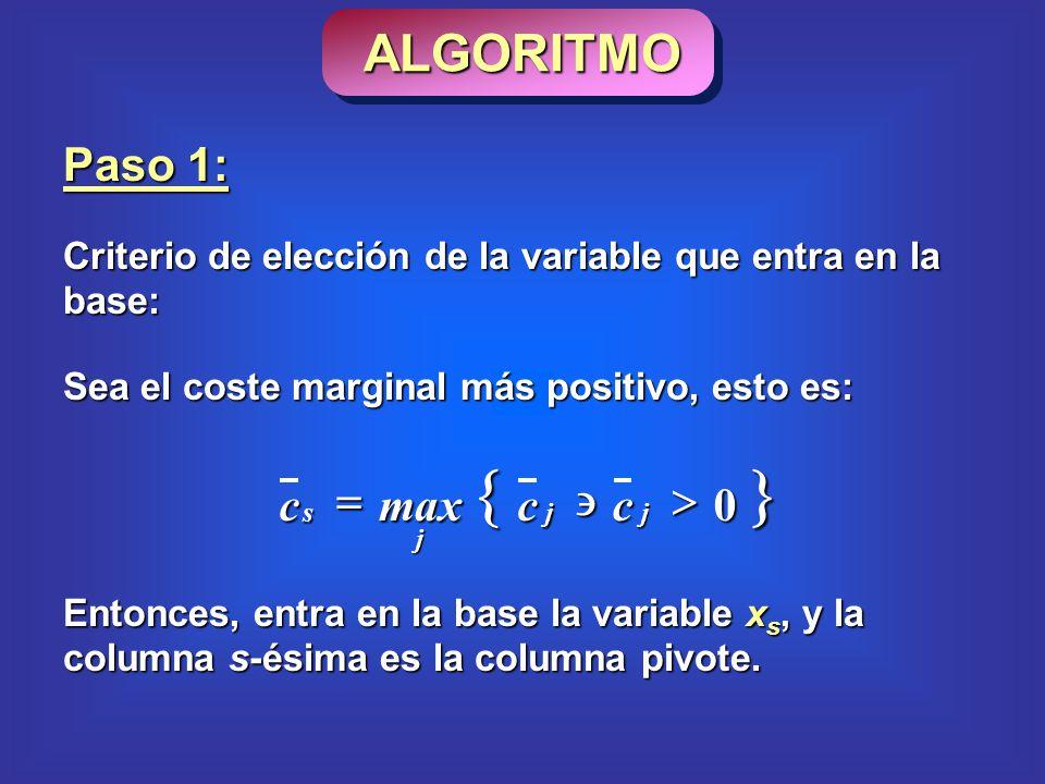 Paso 1: Criterio de elección de la variable que entra en la base: Sea el coste marginal más positivo, esto es: 0 jj j s ccmaxc Entonces, entra en la base la variable x s, y la columna s-ésima es la columna pivote.