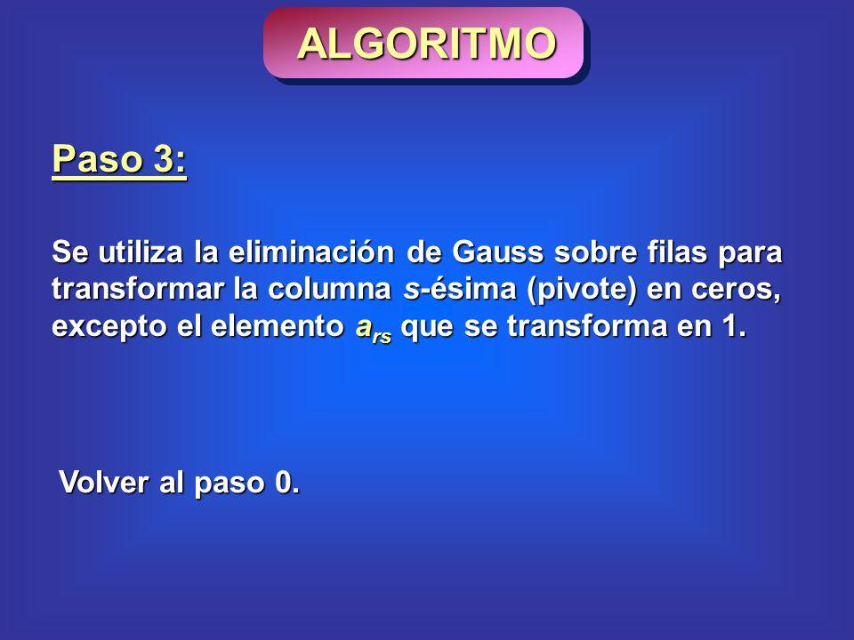 Paso 3: Se utiliza la eliminación de Gauss sobre filas para transformar la columna s-ésima (pivote) en ceros, excepto el elemento a rs que se transforma en 1.