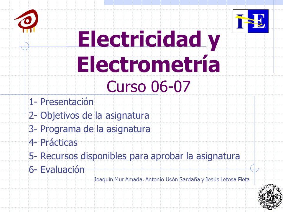 Distribución de los temas 1.- Introducción.Campo eléctrico 2.- Condensadores en vacío.