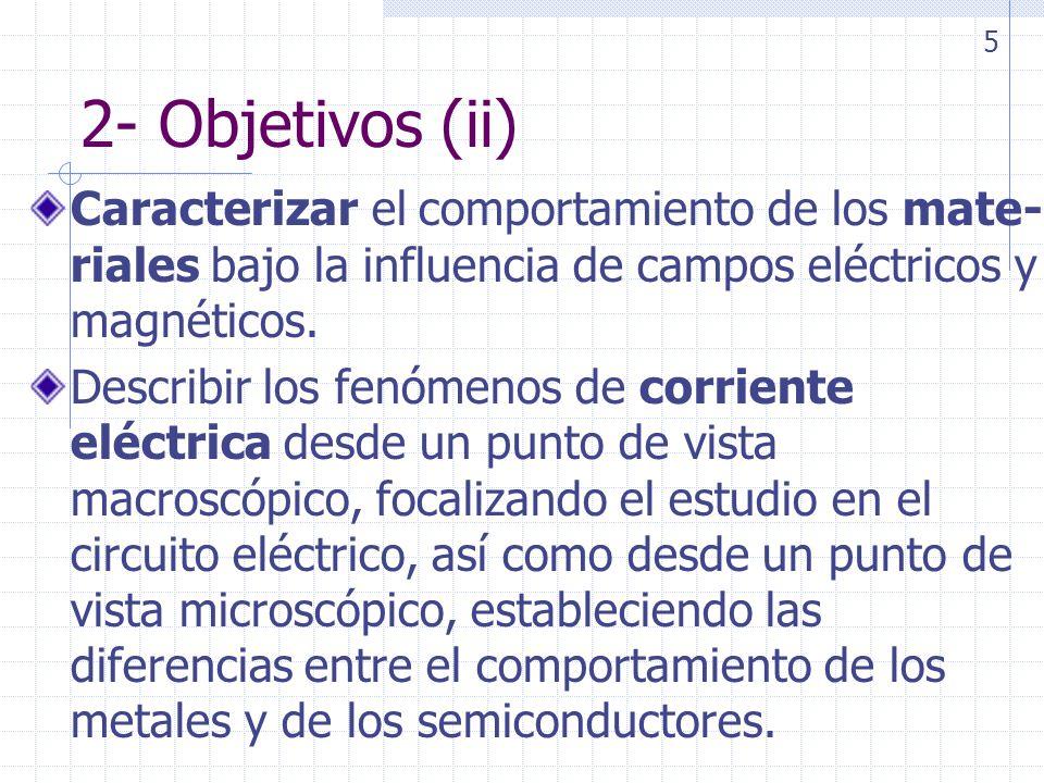2- Objetivos (iii) Describir el campo magnético estático tanto en el vacío como en presencia de materiales Introducir los fenómenos de inducción electromagnética y su interés tecnológico en la actualidad.