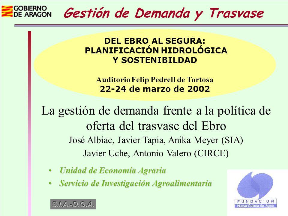 La gestión de demanda frente a la política de oferta del trasvase del Ebro José Albiac, Javier Tapia, Anika Meyer (SIA) Javier Uche, Antonio Valero (C