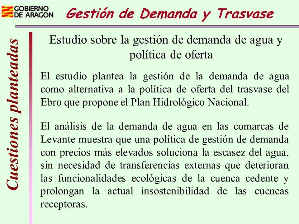 Cuestiones planteadas Estudio sobre la gestión de demanda de agua y política de oferta El análisis de la demanda de agua en las comarcas de Levante mu