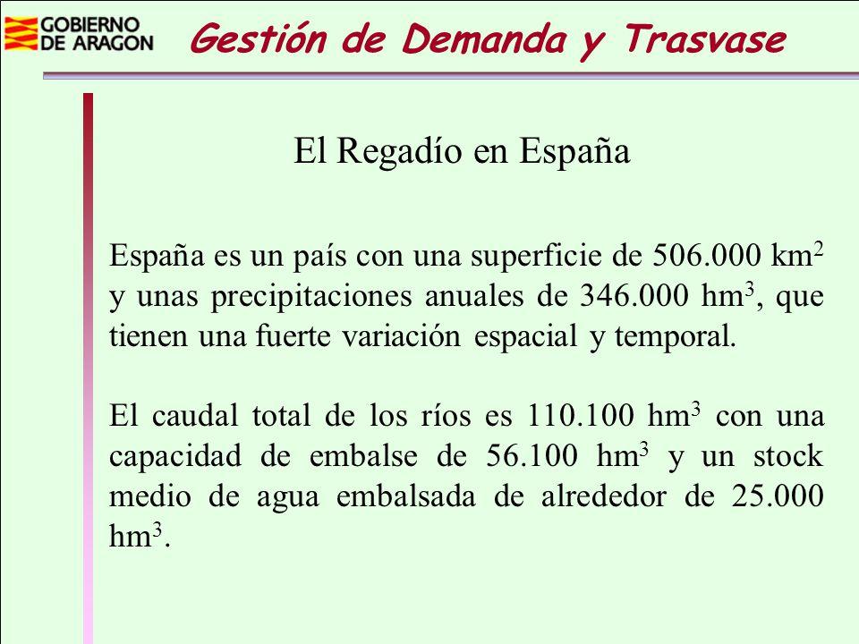 El Regadío en España España es un país con una superficie de 506.000 km 2 y unas precipitaciones anuales de 346.000 hm 3, que tienen una fuerte variac