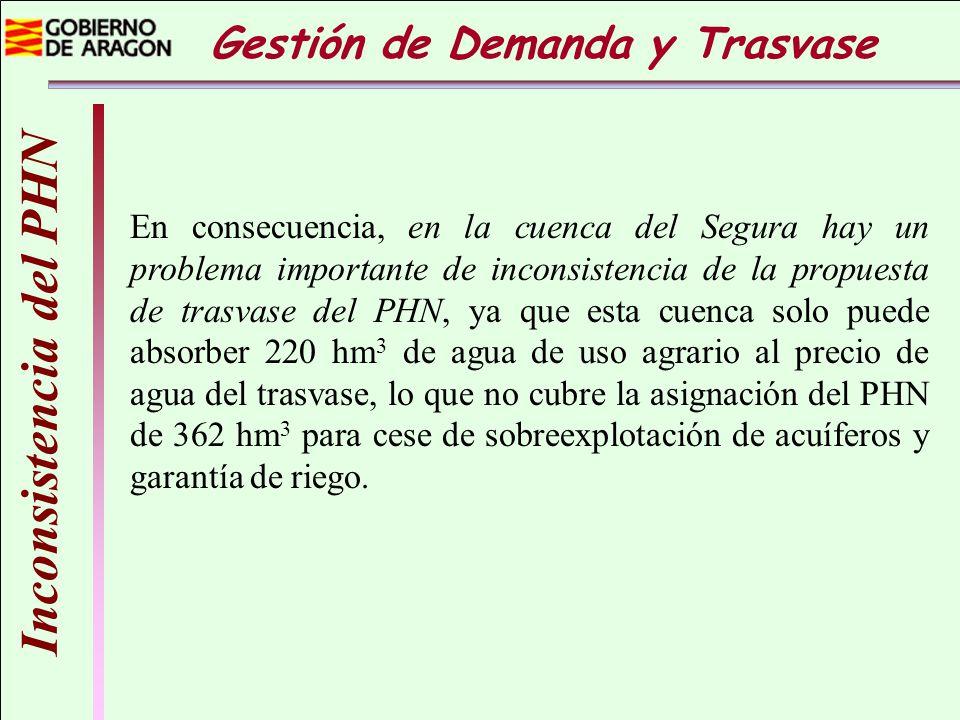 Inconsistencia del PHN En consecuencia, en la cuenca del Segura hay un problema importante de inconsistencia de la propuesta de trasvase del PHN, ya q