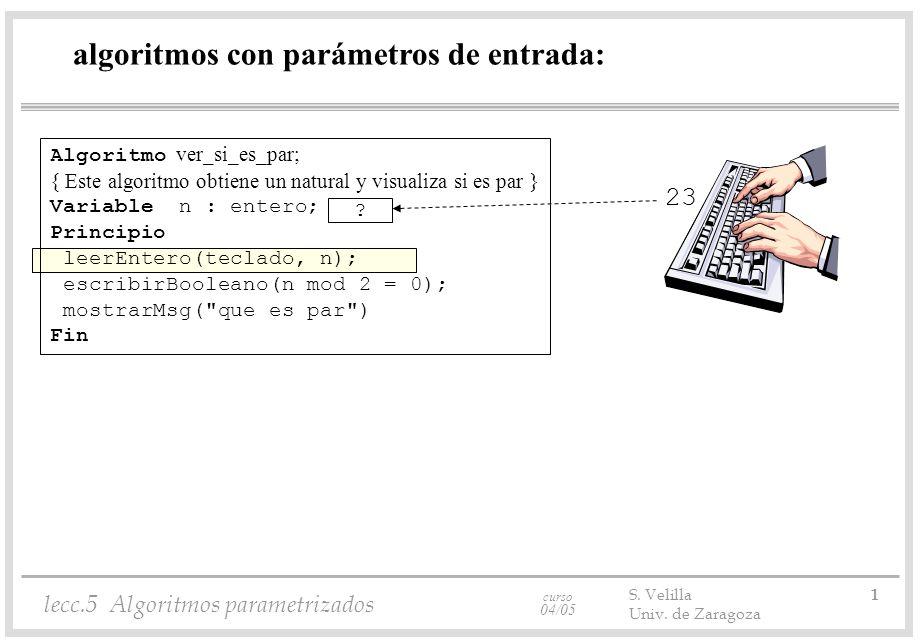 curso 04/05 lecc.5 Algoritmos parametrizados S. Velilla 1 Univ. de Zaragoza algoritmos con parámetros de entrada: Algoritmo ver_si_es_par; { Este algo