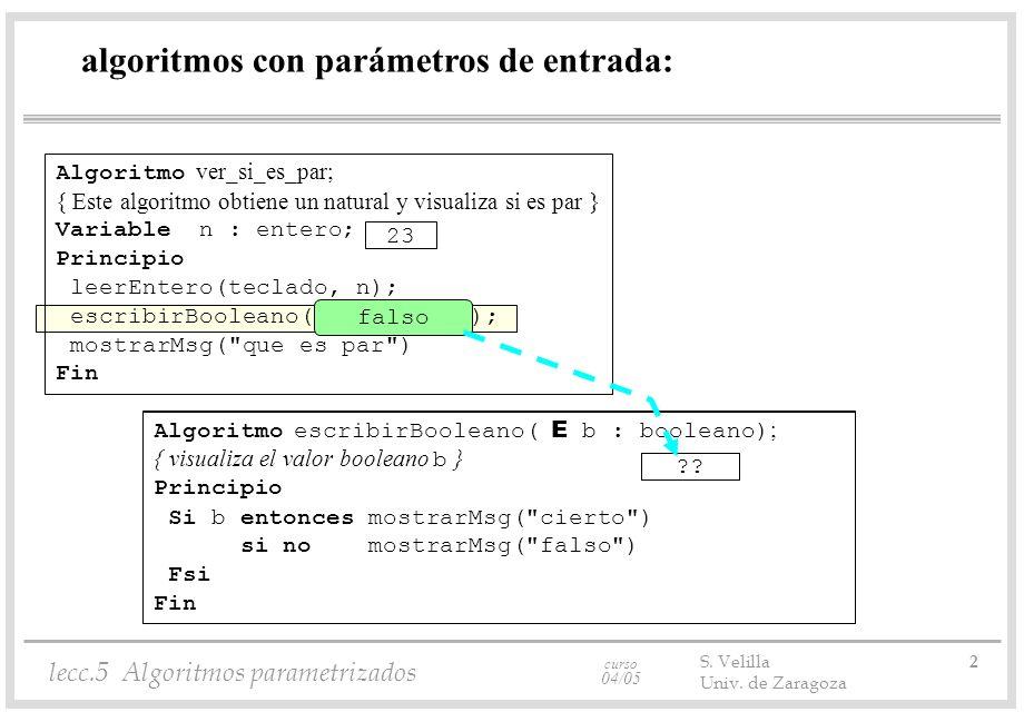 curso 04/05 lecc.5 Algoritmos parametrizados S. Velilla 2 Univ. de Zaragoza Algoritmo escribirBooleano( E b : booleano) ; algoritmos con parámetros de