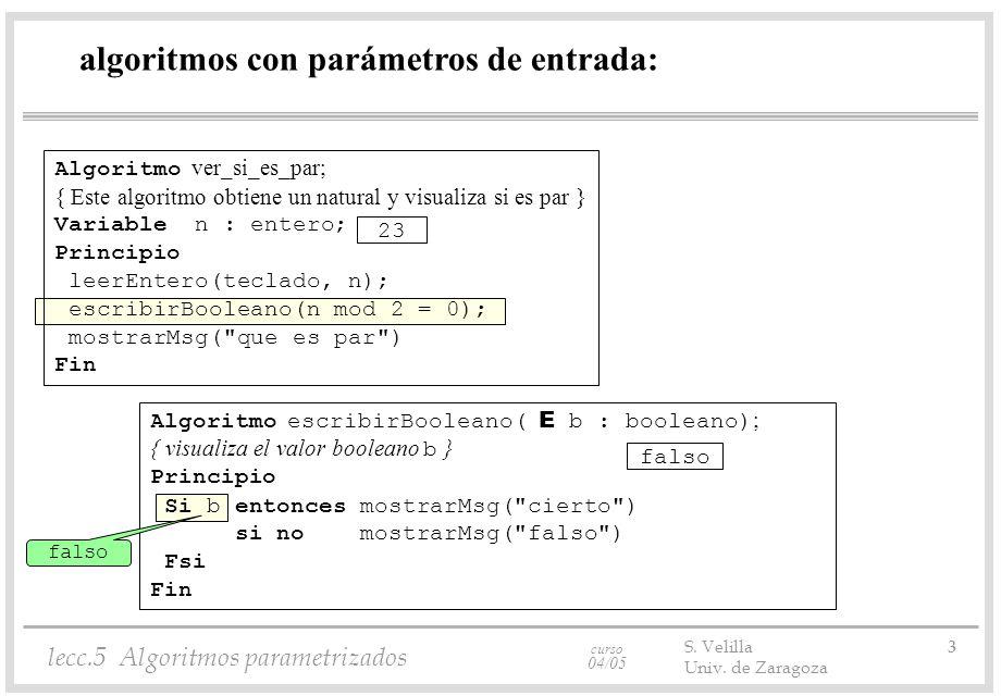curso 04/05 lecc.5 Algoritmos parametrizados S. Velilla 3 Univ. de Zaragoza algoritmos con parámetros de entrada: Algoritmo escribirBooleano( E b : bo