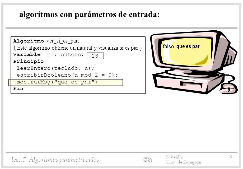 curso 04/05 lecc.5 Algoritmos parametrizados S. Velilla 5 Univ. de Zaragoza algoritmos con parámetros de entrada: Algoritmo ver_si_es_par; { Este algo