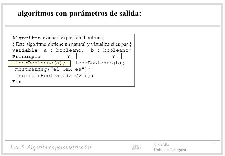 curso 04/05 lecc.5 Algoritmos parametrizados S. Velilla 1 Univ.