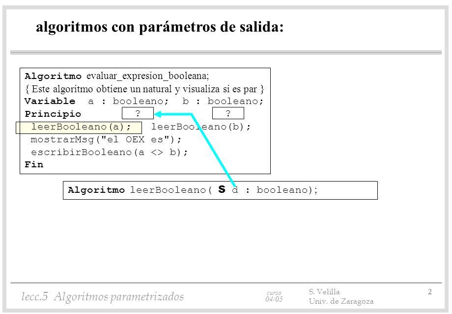 curso 04/05 lecc.5 Algoritmos parametrizados S.Velilla 3 Univ.