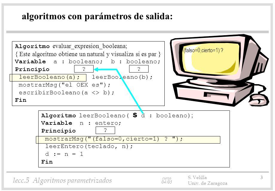 curso 04/05 lecc.5 Algoritmos parametrizados S. Velilla 3 Univ.