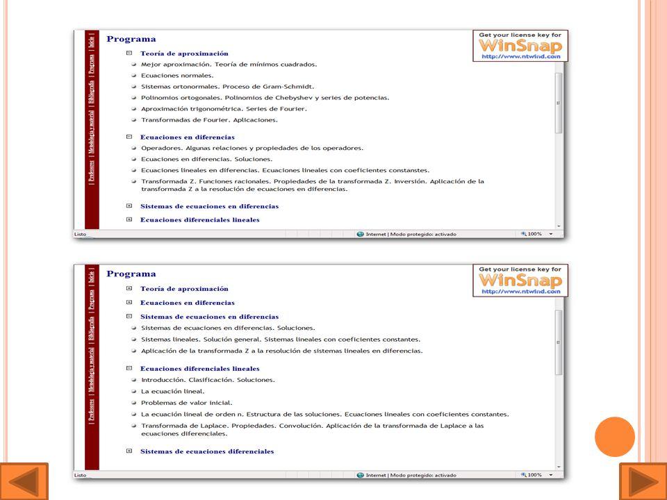 La siguiente página consta de un programa explicativo referente a los sistemas lineales de ecuaciones : http://ma1.eii.us.es/Docencia/Doc_info/XSLT.asp xml=sislin_g.x ml&xsl=programa.xsl