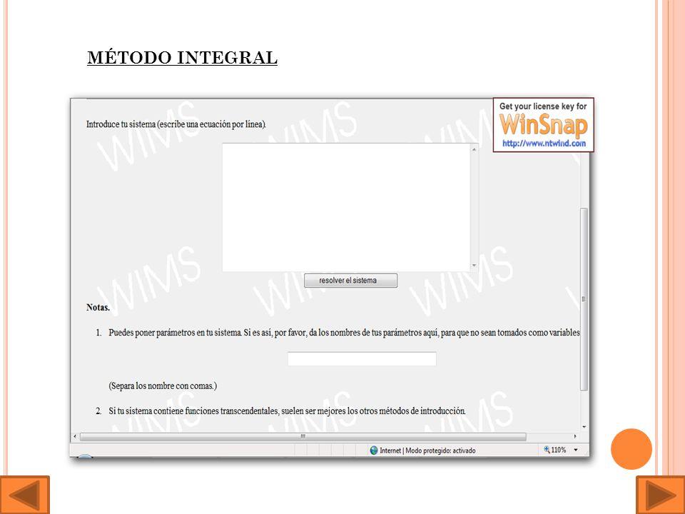 En la siguiente dirección encontramos una aplicación capaz de resolver sistemas lineales por tres métodos distintos: http://wims.unice.fr/wims/wims.cgi session=74C30880F6.2&+lan g=es&+module=tool%2Flinear%2Flinsolver.es&+method=system &+cmd=resumehttp://wims.unice.fr/wims/wims.cgi session=74C 30880F6.2&+lang=es&+module=tool%2Flinear%2Flinsolver.es& +method=system&+cmd=resume