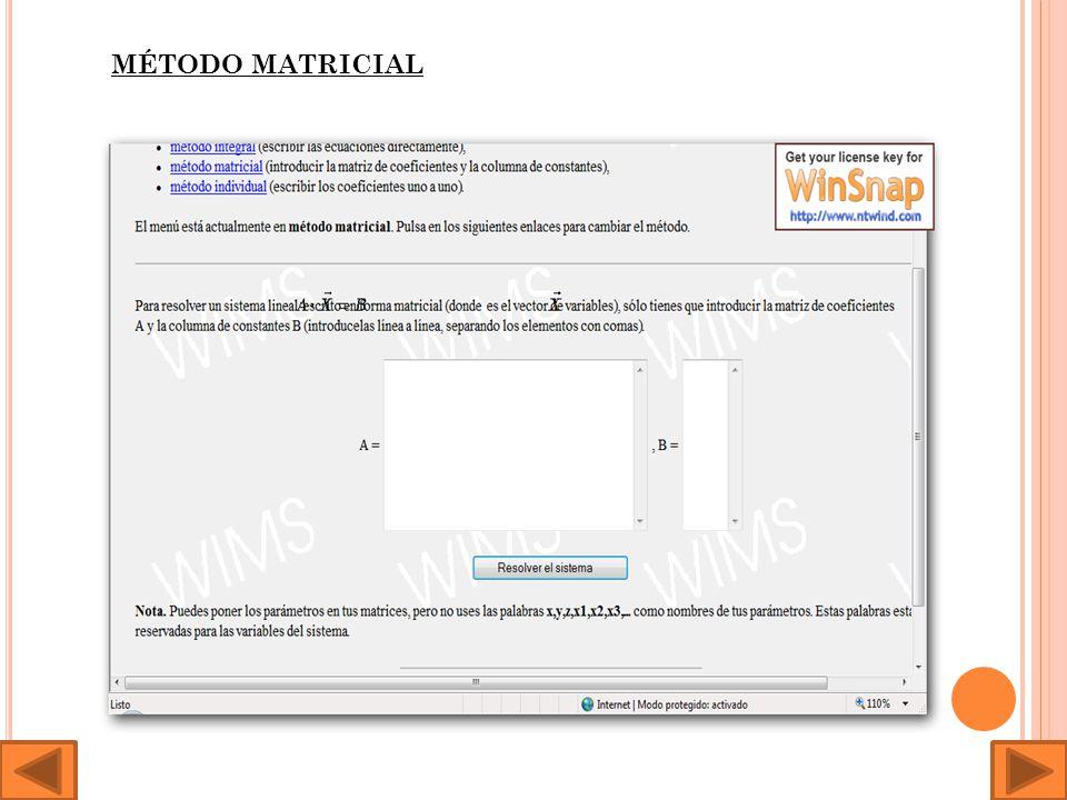 Por último, tenemos esta página dedicada al álgebra matricial en la que encontramos una serie de programas centrados en la resolución de sistemas incluso generadores de hojas de ejercicios: http://ma1.eii.us.es/Docencia/Doc_info/XSLT.asp?xml=sislin_g.x ml&xsl=programa.xsl