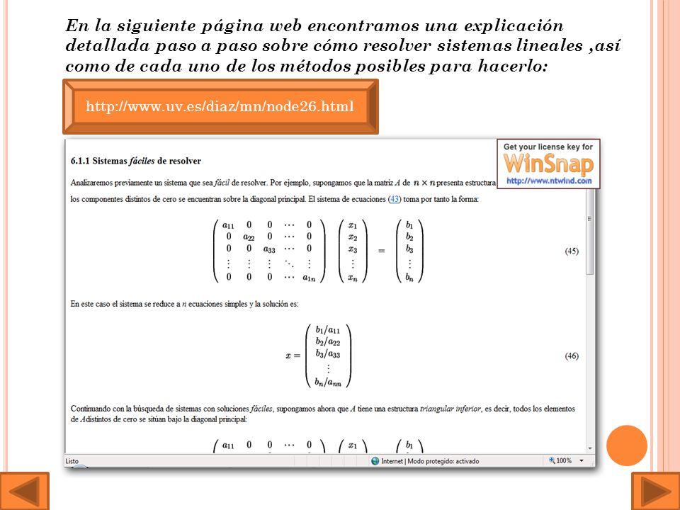 En la siguiente página web encontramos una explicación detallada paso a paso sobre cómo resolver sistemas lineales,así como de cada uno de los métodos posibles para hacerlo: http://www.uv.es/diaz/mn/node26.html