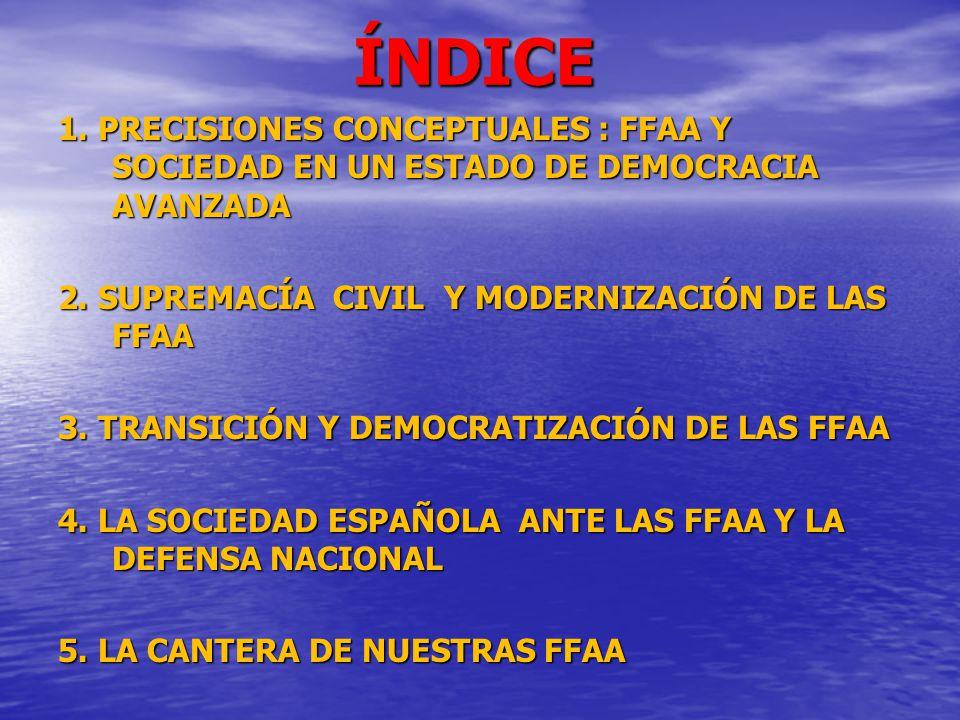 ÍNDICE 1. PRECISIONES CONCEPTUALES : FFAA Y SOCIEDAD EN UN ESTADO DE DEMOCRACIA AVANZADA 2. SUPREMACÍA CIVIL Y MODERNIZACIÓN DE LAS FFAA 3. TRANSICIÓN