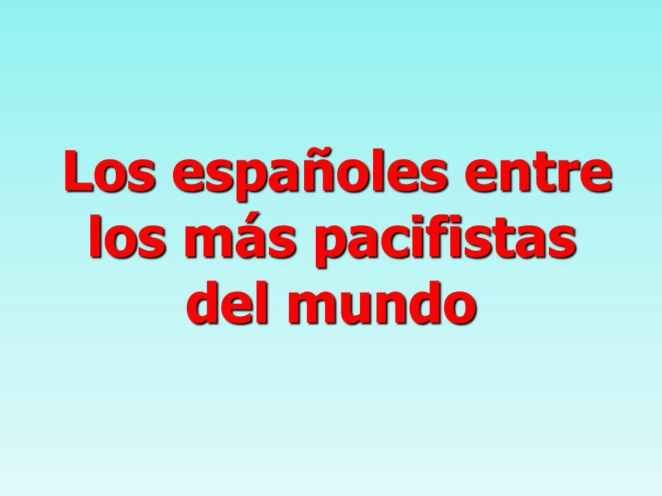 Los españoles entre los más pacifistas del mundo Los españoles entre los más pacifistas del mundo