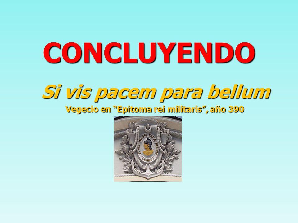 CONCLUYENDO Si vis pacem para bellum Vegecio en Epitoma rei militaris, año 390