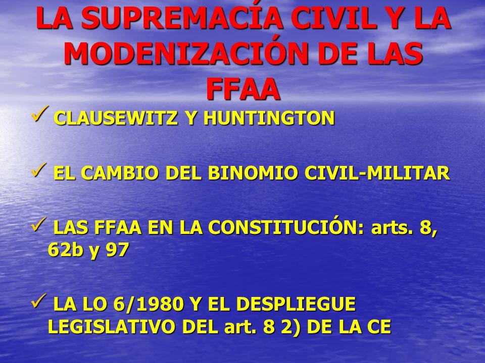 LA SUPREMACÍA CIVIL Y LA MODENIZACIÓN DE LAS FFAA CLAUSEWITZ Y HUNTINGTON CLAUSEWITZ Y HUNTINGTON EL CAMBIO DEL BINOMIO CIVIL-MILITAR EL CAMBIO DEL BI